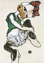 Postkarte Interduck Egon Schiele: Daisy, sitzend