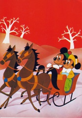 Postcard Sleigh ride with Mickey and Minnie