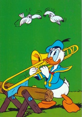 Postcard Donald saws with trombone