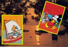 Postcard Greeting from the water with Donald and Mickey