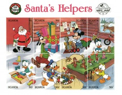 Briefmarkenblock Disney Santas Helpers 8er-Block / Uganda 1988