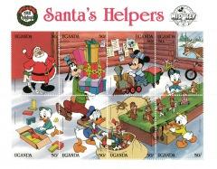 Stamp Block Disney Santas Helpers 8 Stamps / Uganda 1988