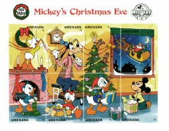 Briefmarkenblock Disney Mickeys Christmas Eve / Grenada 1988