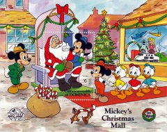 Briefmarkenblock Disney Mickys Christmas Mall / Dominica 1988