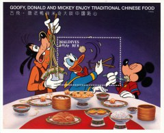 Briefmarkenblock Disney Goofy, Donald and Micky Enjoy Traditional Chinese Food / Malediven