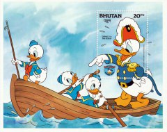 Briefmarkenblock Disney DONALD in Sea Scouts / Bhutan 1984