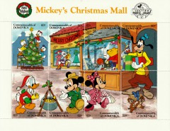 Stamps Plate Block Disney Mickeys Christmas Mall / Dominica 1988