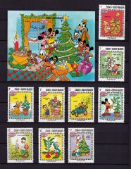 Briefmarkenblock Disney Oh Christmas Tree  + 9 Einzelwerte / Turks & Caicos Islands