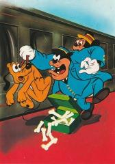 Postkarte Blinder Passagier / Micky, Pluto, Kater Karlo