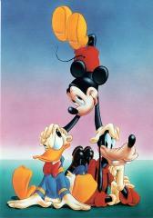 Postkarte Artistenpyramide mit Handstand / Micky, Donald und Goofy