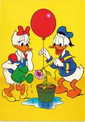 Postkarte Blumenaufrichten / Donald und Daisy