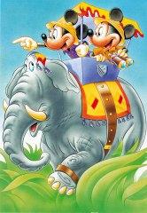 Postkarte Auf Safari / Micky & Minni auf Elefant