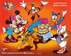 Briefmarkenblock Disney Surprise Party for Micky and Minni / Dominica