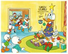 Stamp Plate Block Disney Christmas 1984 Weihnachtsbescherung bei den Ducks / Caicos Islands