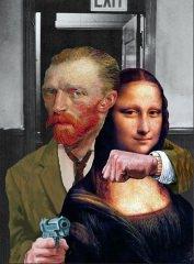 Die Entführung der Mona Lisa durch Van Gogh / Canvas-Druck 30x40cm