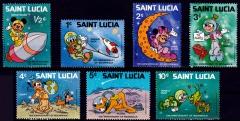 Briefmarkenteilsatz 10th Anniversary of Moonwalk 7 Werte / Saint Lucia 1979