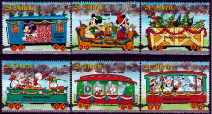 Briefmarkenteilsatz Mickys Christmas Train 6 Werte / St. Vincent 1988