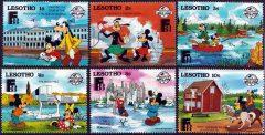 Briefmarkenteilsatz Sixty Years of Micky - Finlandia 6 Werte / Lesotho 1988