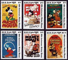 Briefmarkenteilsatz 60th Anniversary Micky Maus Filmposter 6 Werte / Bhutan 1984
