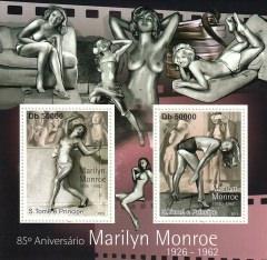 Briefmarkenblock 85º Aniversário Marilyn Monroe 1926 – 1962 / S. Tomé e Principe