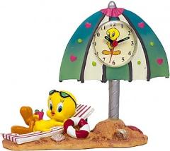 Uhr Tweety im Liegestuhl