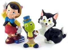 Pinocchio mit Büchern, Jiminy, Figaro (DISNEY STORE) Kleinfiguren 5,5cm